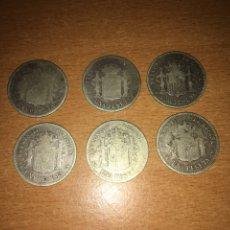 Monedas de España: LOTE DE 6 MONEDAS PLATA ESPAÑA 1 PESETA. Lote 177559948