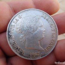 Monedas de España: ESPAÑA 2 ESCUDOS 1867 MADRID ISABEL II PLATA. Lote 177882668