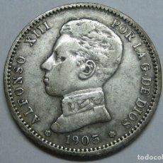 Monedas de España: ALFONSO XIII, 1 ESCASA PESETA DE 1905 (*19 *05) - SMV - PLATA. Lote 177974307