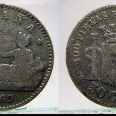Monedas de España: ESCASA MONEDA DE GOBIERNO PROVISIONAL 50 CENTIMOS 1869. Lote 177987178