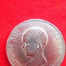 Monedas de España: MONEDA DE PLATA DE ALFONSO XIII 1888 DE 5 PTS. MODELO 53 MPM.- PELON.. Lote 178002313