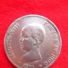 Monedas de España: MONEDA DE PLATA DE ALFONSO XIII 1891 DE 5 PTS. MODELO 53 PGM.- PELON.. Lote 178003479