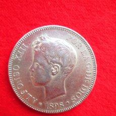 Monedas de España: MONEDA DE PLATA DE ALFONSO XIII 1898 DE 5 PTS. MODELO 636 SGV.- TUPÉ.. Lote 178005630