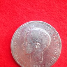Monedas de España: MONEDA DE PLATA DE ALFONSO XIII 1898 DE 5 PTS. MODELO 636 SGV.- TUPÉ.. Lote 178005729