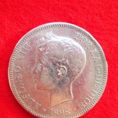 Monedas de España: MONEDA DE PLATA DE ALFONSO XIII 1898 DE 5 PTS. MODELO 636 SGV.- TUPÉ.. Lote 178005814