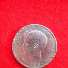 Monedas de España: MONEDA DE PLATA DE ALFONSO XIII 1898 DE 5 PTS. MODELO 636 SGV.- TUPÉ.. Lote 178005913