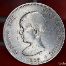Monedas de España: ESPAÑA 5 PESETAS ALFONSO XIII 1888 ESTRELLAS 18-88 - MP M PLATA REF- 519. Lote 178067040