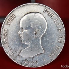 Monedas de España: ESPAÑA 5 PESETAS ALFONSO XIII 1888 ESTRELLAS 18-88 - MP M PLATA REF- 520. Lote 178067338