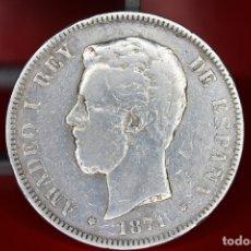 Monedas de España: ESPAÑA 5 PESETAS AMADEO I 1871 ESTRELLAS 18-71 - SD M PLATA REF- 518. Lote 178067390