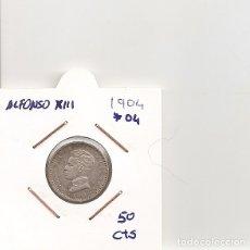 Monedas de España: ESPAÑA ALFONSO XIII 50 CENTIMOS PLATA 1904. Lote 178263680