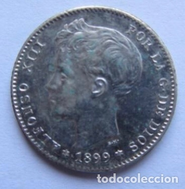 Monedas de España: MONEDA DE 1 PESETA DE PLATA DE 1899, ALFONSO XIII. - Foto 2 - 178389465