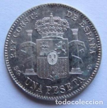 MONEDA DE 1 PESETA DE PLATA DE 1899, ALFONSO XIII. (Numismática - España Modernas y Contemporáneas - De Isabel II (1.834) a Alfonso XIII (1.931))