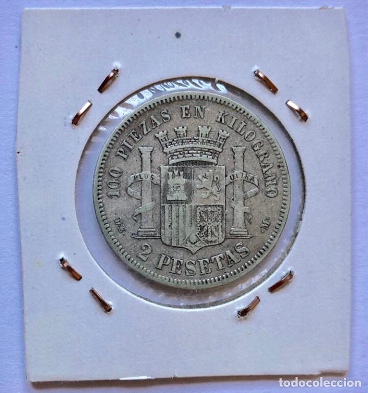 MONEDA DE PLATA DE 2 PESETAS, DE 1870. (Numismática - España Modernas y Contemporáneas - De Isabel II (1.834) a Alfonso XIII (1.931))