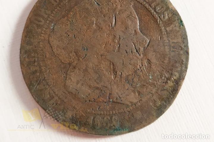 Monedas de España: Moneda de 5 céntimos de Isabel II - 1868 - Foto 2 - 178638912