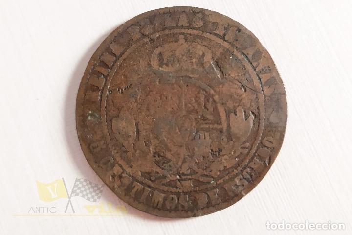Monedas de España: Moneda de 5 céntimos de Isabel II - 1868 - Foto 3 - 178638912