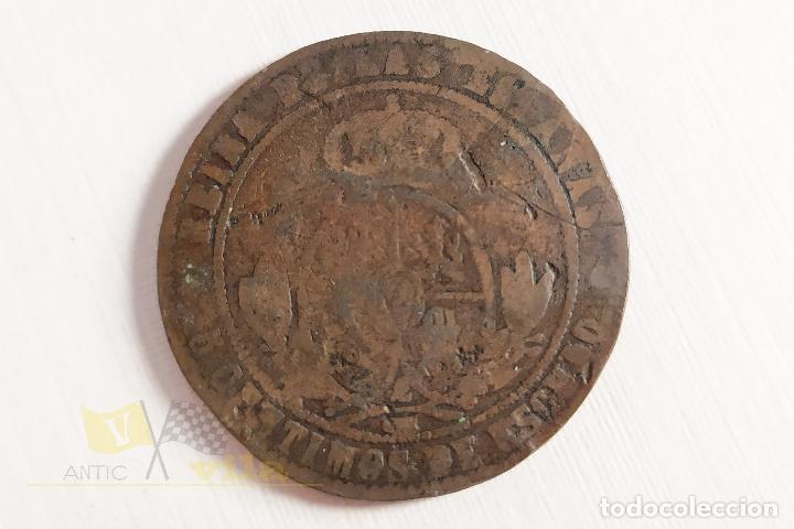 Monedas de España: Moneda de 5 céntimos de Isabel II - 1868 - Foto 4 - 178638912