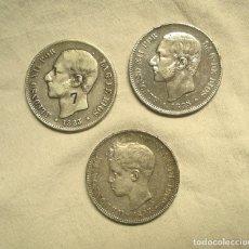 Monedas de España: LOTE 3 MONEDAS PLATA 5 PESETAS 1883, 1885 Y 1897. Lote 178917971