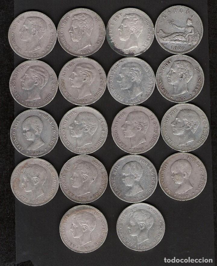 18 MONEDAS 5 PESETAS 1870 A 1898 GOBIERNO PROVISIONAL AMADEO I Y ALFONSO XII Y XIII (Numismática - España Modernas y Contemporáneas - De Isabel II (1.834) a Alfonso XIII (1.931))