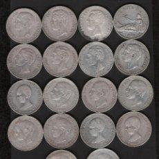 Monedas de España: 18 MONEDAS 5 PESETAS 1870 A 1898 GOBIERNO PROVISIONAL AMADEO I Y ALFONSO XII Y XIII. Lote 178946196