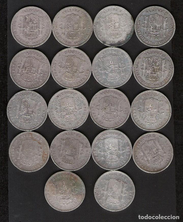 Monedas de España: 18 MONEDAS 5 PESETAS 1870 A 1898 GOBIERNO PROVISIONAL AMADEO I Y ALFONSO XII Y XIII - Foto 2 - 178946196