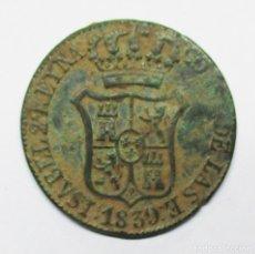 Monedas de España: ISABEL II, 1839. MONEDA DE 6 CUARTOS, CECA DE CATALUÑA-BARCELONA. LOTE 2011. Lote 178965301
