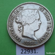 Monnaies d'Espagne: ESPAÑA MANILA FILIPINAS 50 CÉNTIMOS PLATA 1868, ISABEL II , 2ª. Lote 179002711