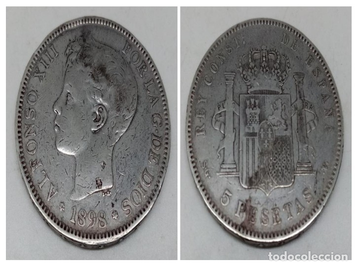 MONEDA 5 PTS PLATA ALFONSO XIII AÑO 1898 (Numismática - España Modernas y Contemporáneas - De Isabel II (1.834) a Alfonso XIII (1.931))