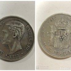 Monedas de España: MONEDA 5 PESETAS DE PLATA 1877. PESO 25.7 GR. * ESTRELLA LEGIBLE 18 - 77. ALFONSO XII. D.E.M. . Lote 179399666