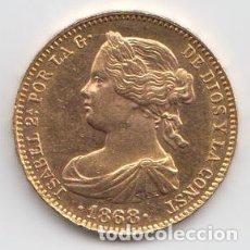 Monedas de España: DETALLES DE ISABEL II 10 ESCUDOS 1868 * 68 MADRID. Lote 180009788