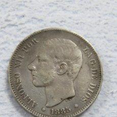 Monedas de España: BONITO DURO EN PLATA DE ALFONSO XII DE 1885 ESTRELLAS 18--87 VISIBLES, EN ESTADO EBC. Lote 180019913