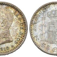 Monedas de España: * MAGNÍFICOS 50 CÉNTIMOS 1910 *1-0 PCV DE ALFONSO XIII. BRILLO ORIGINAL CON PRECIOSO TONO IRISADO *. Lote 180162016
