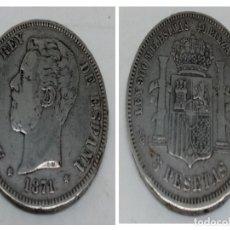 Monedas de España: MONEDA 5 PTS PLATA - AMADEO I - AÑO 1871. Lote 180251453