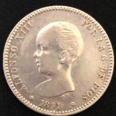 Monedas de España: 1 PESETA PLATA ALFONSO XIII, 1891*18*91 PG-M - EXCELENTE MUY ESCASA ASÍ. Lote 180284655
