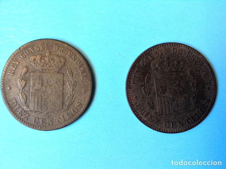 Monedas de España: ALFONSO XII LOTE 2 MONEDAS DE 10 CENTIMOS CU 1877 Y 1878 BARCELONA - Foto 2 - 181137776