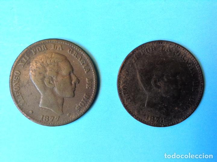 ALFONSO XII LOTE 2 MONEDAS DE 10 CENTIMOS CU 1877 Y 1878 BARCELONA (Numismática - España Modernas y Contemporáneas - De Isabel II (1.834) a Alfonso XIII (1.931))