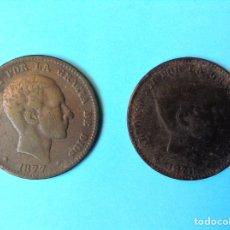 Monedas de España: ALFONSO XII LOTE 2 MONEDAS DE 10 CENTIMOS CU 1877 Y 1878 BARCELONA. Lote 181137776