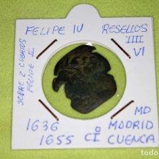 Monedas de España: FELIPE IV RESELLOS IIII-VI 1636-1655 MADRID-CUENCA SOBRE 2 CUARTOS FELIPE II REFE; 2914. Lote 181156405