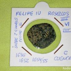 Monnaies d'Espagne: FELIPE IV RESELLOS IIII-VI-IIII 1636-1652-54-55 CUENCA SOBRE 2 CUARTOS FELIPE II REFE; 2934. Lote 181157543