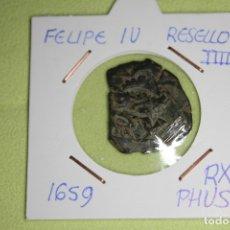 Monedas de España: FELIPE IV RESELLO IIII 1659 RX PHVS REFE; 3001. Lote 181194167