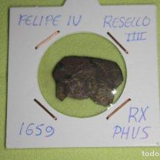 Monedas de España: FELIPE IV RESELLO IIII RH PHVS 1659 REFE; 3003. Lote 181194447