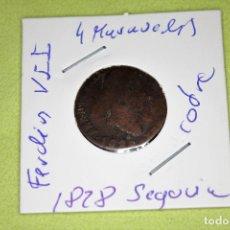 Monedas de España: FERNANDO VII 4 MARAVEDÍS SEGOVIA 1828 REFE; 3090. Lote 181203135