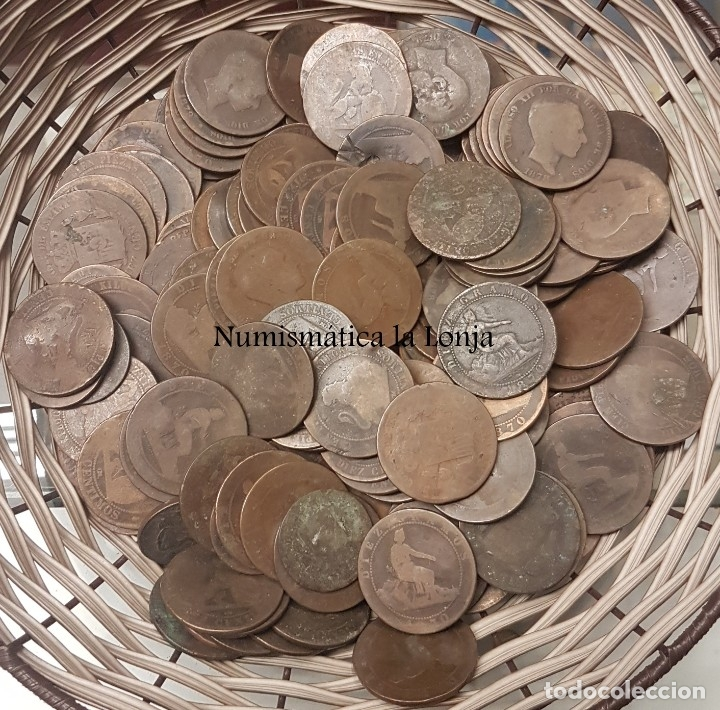 Monedas de España: Lote 50 monedas 5 & 10 Céntimos Alfonso XIII & Gobierno Provisional 1870 Cobre - Foto 2 - 181398351