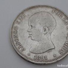 Monedas de España: MONEDA 5 PESETAS PLATA 1891 BUEN EJEMPLAR. Lote 181620821