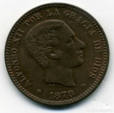Monedas de España: ALFONSO XII - 5 CENTIMOS 1878 BARCELONA OM - EBC. Lote 181666335