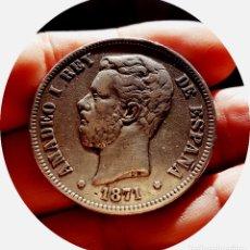 Monedas de España: AMADEO I - 5 RARAS PESETAS DE 1871, (*18 *73) - DEM - PLATA - ¡SOBERBIAS!. Lote 181351383