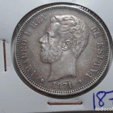 Monedas de España: 5 PESETAS BUEN EJEMPLAR VER FOTOS 1871. Lote 182001392