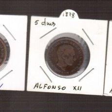 Monedas de España: 3 MONEDAS DE ALFONSO XII 5 CENTIMOS DE LOS AÑOS 1877 -1878--1879 LOS QUE VES . Lote 182242792