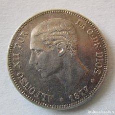 Monedas de España: ALFONSO XII . 5 PESETAS DE GRAN CALIDAD . AÑO 1877 . ESTRELLAS CLARISIMAS 18-77. Lote 182402707