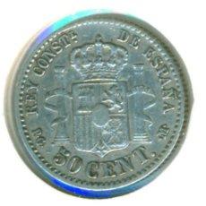 Monete da Spagna: ESPAÑA - ALFONSO XII 50 CÉNTIMOS 1892 PG M *9 *2 (BC+) KM # 690 - PELÓN - PLATA - ESTRELLAS VISIBLES. Lote 182406708