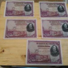Monedas de España: LOTE DE 5 BILLETES CINCUENTA (50) PESETAS AÑO 1928 VELÁZQUEZ. Lote 182492476